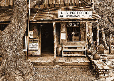 Photograph - Luckenbach Tx Sepia by Judy Vincent