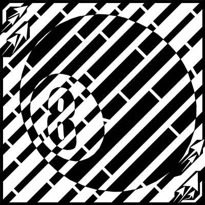 Sports Maze Drawing - Lucky Art Eight Ball Maze  by Yonatan Frimer Maze Artist