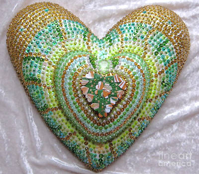 Polymer Clay Relief - Lucky Clover Hearts by Heidi Sieber