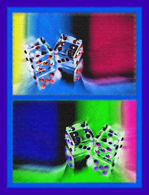 Lucky Dice Diptych - Mirrored Images Art Print by Steve Ohlsen
