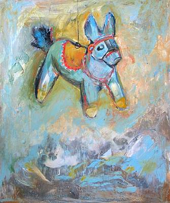 Encaustic Horse Painting - Lucky Donkey by Kristen Woodward