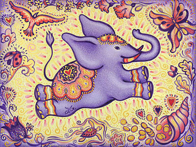Lucky Elephant Purple Art Print by Judith Grzimek