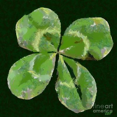 Faith Hope And Love Painting - Lucky Four Leaf Clover by Dragica  Micki Fortuna