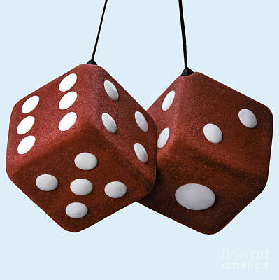 Lucky Fuzzy Red Dice  Art Print