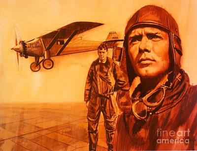 Lindbergh Painting - Lucky Lindy by Dick Bobnick