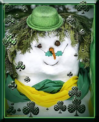 Snowmen Photograph - Lucky Magic  Irish Snowman by LeeAnn McLaneGoetz McLaneGoetzStudioLLCcom