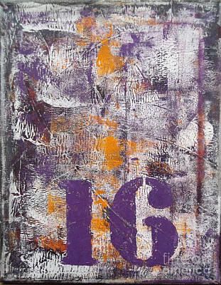 Lucky Number 16 Purple Orange Grey Abstract By Chakramoon Art Print by Belinda Capol