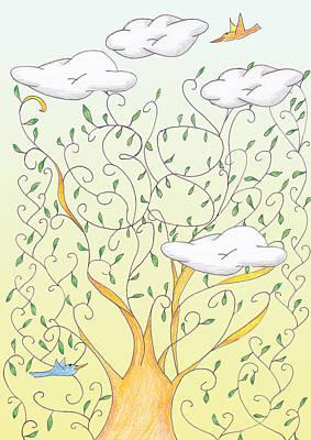 Colourfull Digital Art - Lucky Number 38 Tree by Birgitta Serine Kvelland