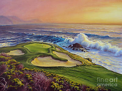 Pebble Beach Painting - Lucky Number 7 by Joe Mandrick