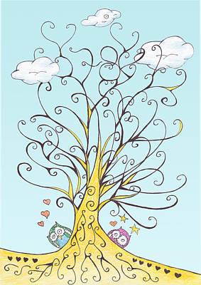 Hearts On Trees Digital Art - Lucky Number 78 Tree by Birgitta Serine Kvelland