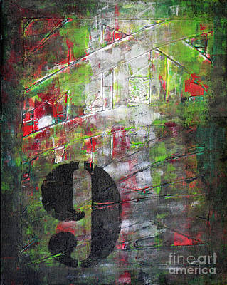 Lucky Number 9 Green Red Grey Black Abstract By Chakramoon Art Print by Belinda Capol
