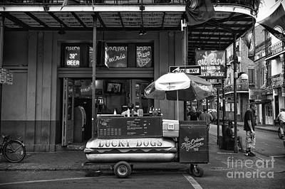 Hot Dogs Photograph - Lucky On Bourbon Street Mono by John Rizzuto