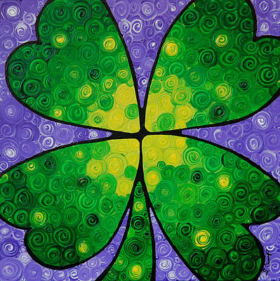 Four Leaf Clover Painting - Lucky One by Sharon Cummings