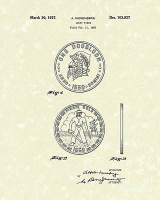Drawing - Lucky Piece 1937 Patent Art by Prior Art Design