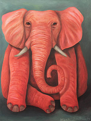 Fushia Painting - Lucky Pink Elephant by Leah Saulnier The Painting Maniac