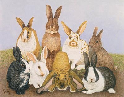 Lucky Rabbits Art Print by Pat Scott