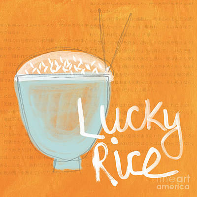 Lucky Mixed Media - Lucky Rice by Linda Woods