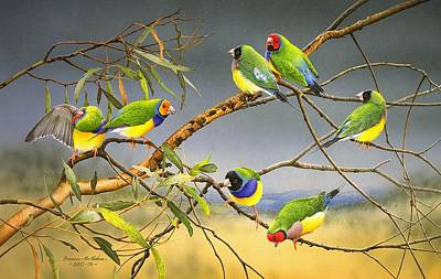 Painting - Lucky Seven - Gouldian Finches by Frances McMahon