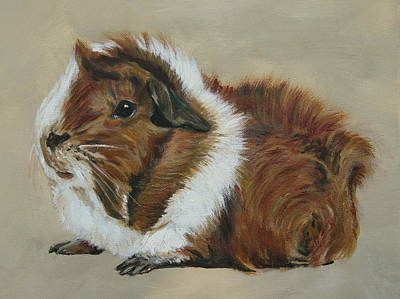 Hamster Painting - Lucky The Cutest Guinea Pig by Lyndsey Hatchwell