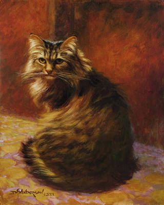 Maine Coon Cat Painting - Lucy by David Henderson