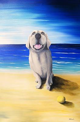 Dog Play Beach Painting - Lucy II by Mark Alan Roberts