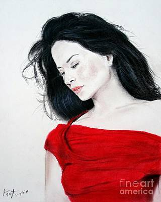 Long Hair Mixed Media - Lucy Liu The Lady In Red by Jim Fitzpatrick