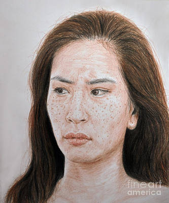 Drawing - Lucy Liu The Stare by Jim Fitzpatrick