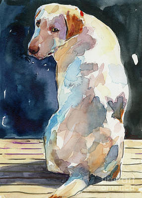 Yellow Labrador Retriever Painting - Lucy Moon by Molly Poole