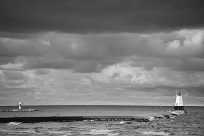 Lighthouse Photograph - Ludington Black And White by Sebastian Musial