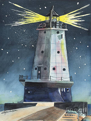 Painting - Ludington Light by LeAnne Sowa