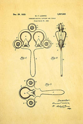 Castanets Photograph - Ludwig Castanet Patent Art 1925  by Ian Monk