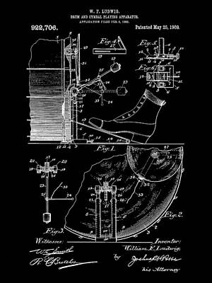 Drum Set Digital Art - Ludwig Drum And Cymbal Foot Pedal Patent 1909 - Black by Stephen Younts