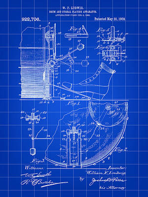 Drum Set Digital Art - Ludwig Drum And Cymbal Foot Pedal Patent 1909 - Blue by Stephen Younts
