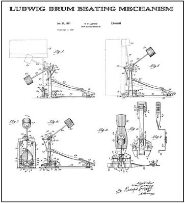 Drum Set Digital Art - Ludwig Drum Pedal 2 Patent Art 1951 by Daniel Hagerman