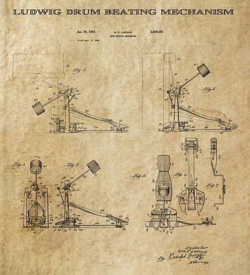 Drum Set Digital Art - Ludwig Drum Pedal 3 Patent Art 1951 by Daniel Hagerman