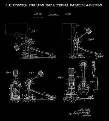 Drum Set Digital Art - Ludwig Drum Pedal 4 Patent Art 1951 by Daniel Hagerman