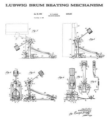 Drum Set Digital Art - Ludwig Drum Pedal Patent Art 1951 by Daniel Hagerman