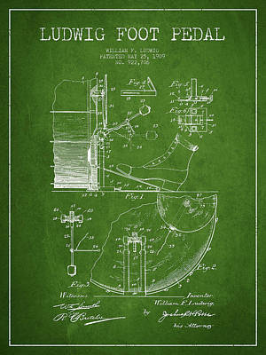 Drummer Digital Art - Ludwig Foot Pedal Patent Drawing From 1909 - Green by Aged Pixel