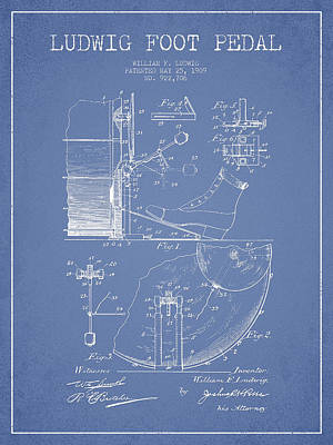 Folk Art Digital Art - Ludwig Foot Pedal Patent Drawing From 1909 - Light Blue by Aged Pixel