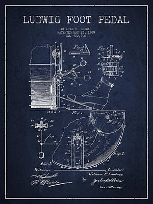 Folk Art Digital Art - Ludwig Foot Pedal Patent Drawing From 1909 - Navy Blue by Aged Pixel