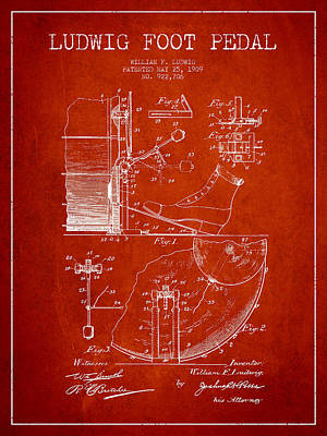 Folk Art Digital Art - Ludwig Foot Pedal Patent Drawing From 1909 - Red by Aged Pixel