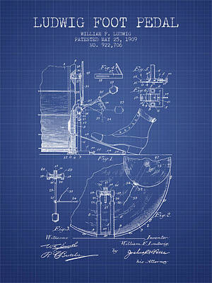 Drummer Drawing - Ludwig Foot Pedal Patent From 1909 - Blueprint by Aged Pixel
