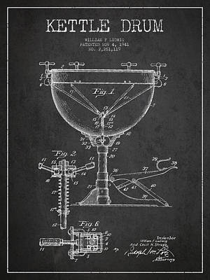 Drummer Digital Art - Ludwig Kettle Drum Drum Patent Drawing From 1941 - Dark by Aged Pixel