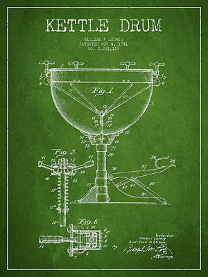 Drummer Drawing - Ludwig Kettle Drum Drum Patent Drawing From 1941 - Green by Aged Pixel