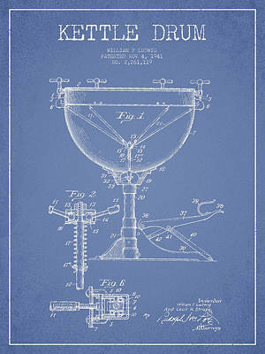 Drummer Drawing - Ludwig Kettle Drum Drum Patent Drawing From 1941 - Light Blue by Aged Pixel