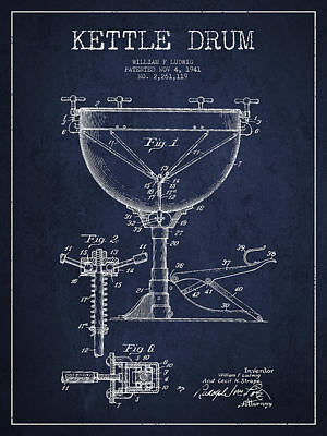 Folk Art Digital Art - Ludwig Kettle Drum Drum Patent Drawing From 1941 - Navy Blue by Aged Pixel