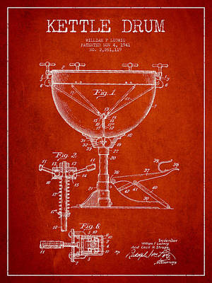 Folk Art Digital Art - Ludwig Kettle Drum Drum Patent Drawing From 1941 - Red by Aged Pixel