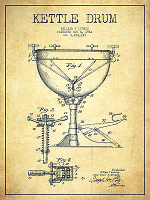 Folk Art Digital Art - Ludwig Kettle Drum Drum Patent Drawing From 1941 - Vintage by Aged Pixel