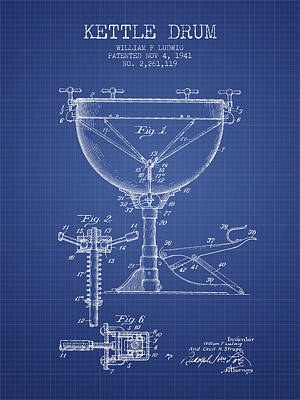 Drummer Drawing - Ludwig Kettle Drum Drum Patent From 1941 - Blueprint by Aged Pixel