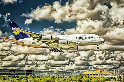 Lost In The Clouds Lufthansa A380 Named Hamburg-colorized Abstract Art Print